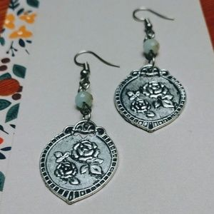 Rose Pendant Dangle Drop Earrings